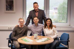 Der frischgebackene Seniorchef Achim Winkel mit den beiden Söhnen Jonas Winkel und Lukas Winkel sowie Schwiegertochter Catherine Demeulemeester