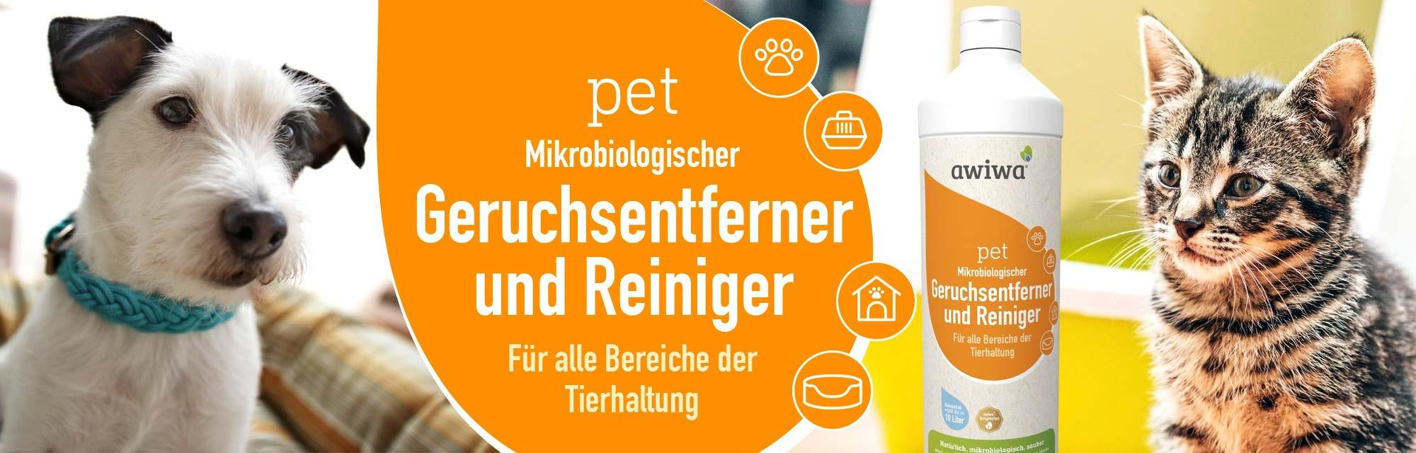 awiwa pet mikrobiologischer Geruchsentferner und Reiniger für alle Bereiche der Tierhaltung