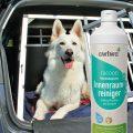 Innenraumreiniger neben Hund in Hundebox im Auto
